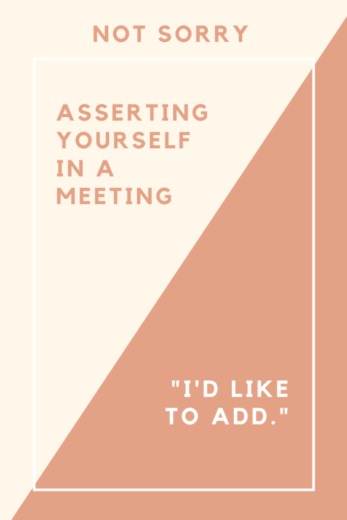 """Rectangle divided into two, text says """"not sorry"""", """"asserting yourself in a meeting"""", """"I'd like to add"""""""