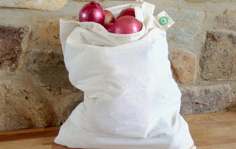 muslin cotton with drawstring produce bag